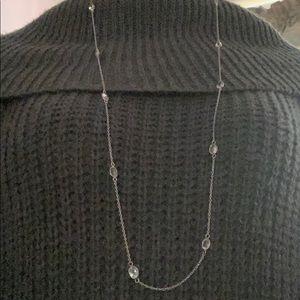 White Topaz Station Necklace